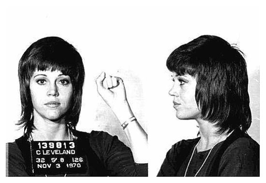 DAMN THE MAN! Jane Fonda was busted for pill possession and then assaulting an officer. I was told she used that fist to punch her profile picture right next to her... yeah? no? no...